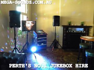 touch screen karaoke jukebox hire perth 2 speakers 2 lights