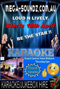 Thursday Karaoke Grand Central Hotel Midland.