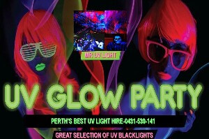 uv black light party hire Perth